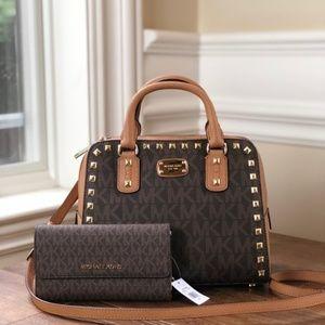 NWT Michael kors Studded Signature satchel+Wallet